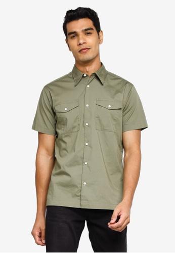 Jack & Jones green Paul Solid Short Sleeves Worker Shirt 29FA7AA00FE817GS_1