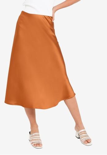 FORCAST orange and brown Zuri Bias Cut Skirt 7B466AA3A174DCGS_1