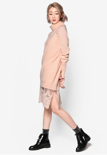 PLAYzalora時尚購物網的koumi koumi 2-in-1 蕾絲拼接長袖衫連身裙, 服飾, 洋裝