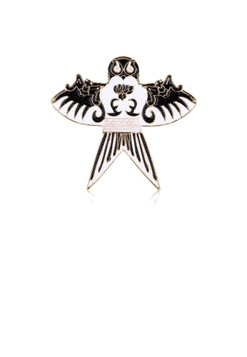 Glamorousky silver Fashion Simple Plated Gold Black and White Swallow Kite Brooch 642D2AC06C2484GS_1