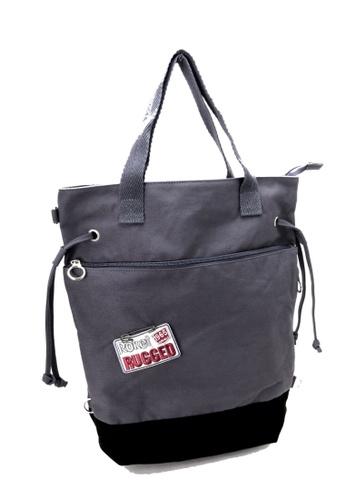 Esther Accessories grey Canvas 3 Way Tote (Handle/shoulder/backpack) --- Grey ES153AC78JRDHK_1