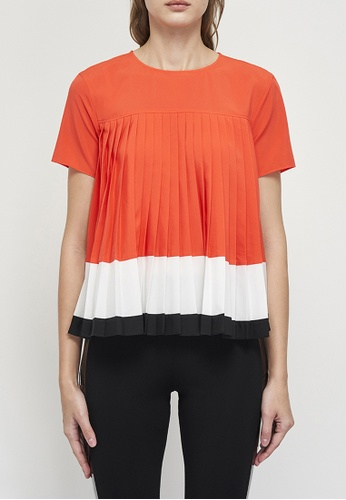 A|X Armani Exchange orange AX Armani Exchange Women Colourblock Pleated Top - Spring & Summer 2021 Collection 6D226AA708CCCBGS_1