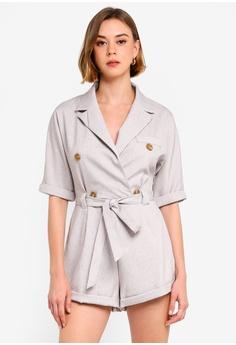 fc93e086e2828b MISSGUIDED grey Button Short Sleeve Blazer Playsuit F95EEAADA039C2GS 1
