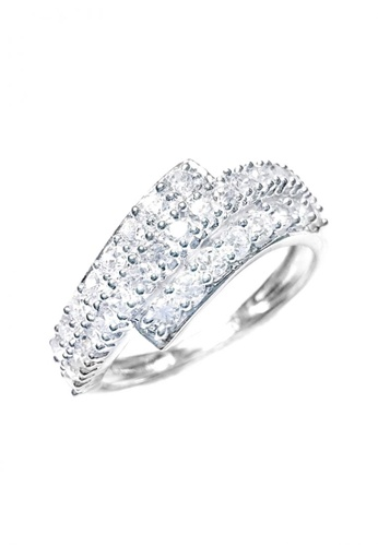 Elfi silver Elfi 925 Genuine Silver Engagement Ring M20 - The Glittering Wave EL186AC67GNWMY_1