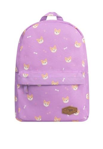 Ripples purple Corgi Dog Mid Sized Kids School Backpack 0DCE4KCDD848E6GS_1
