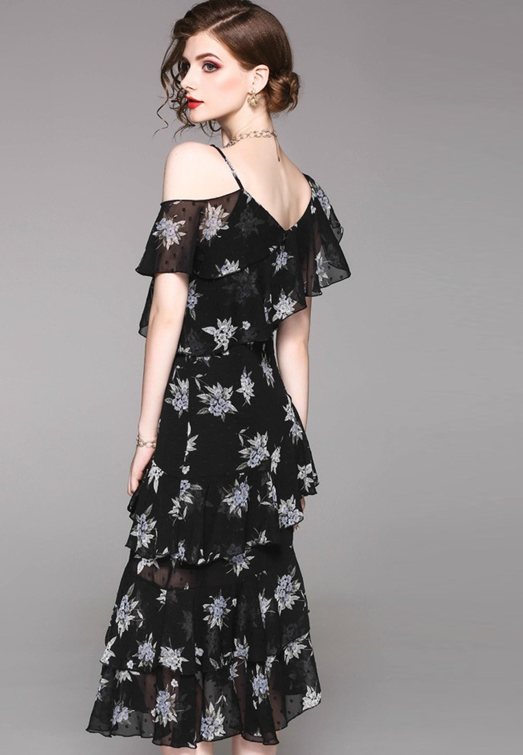 New Black Sunnydaysweety One CA071840BK Dress 2018 Chiffon Piece Ruffle Shoulder One qvq7fwdT