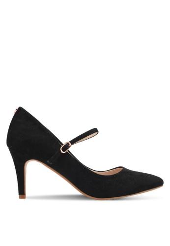 Velvet black Heel with Strap 25777SH44C4AA3GS_1
