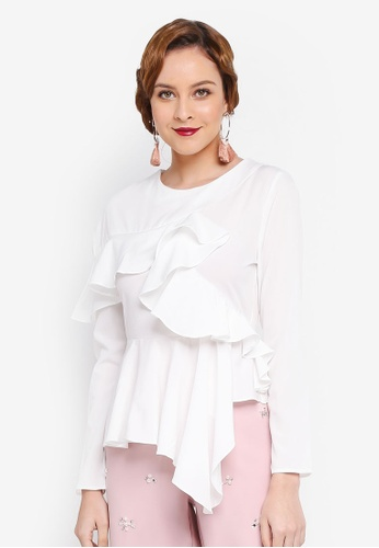 Lubna white Asymmetrical Top 42551AA4AC23C3GS_1