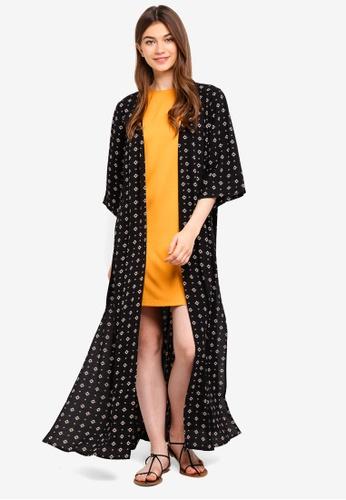 Something Borrowed black Longline Kimono With Side Slits 77D7CAA6C94F5CGS_1