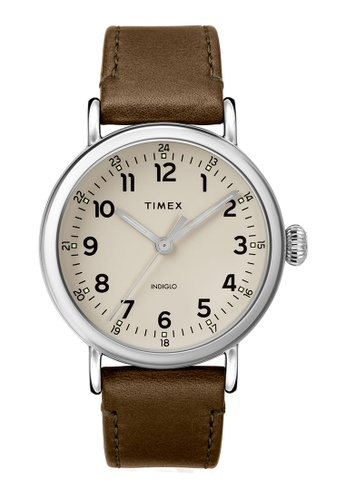 Timex brown and silver Timex Standard 40mm - Silver-Tone Case, Brown Strap (TW2T20100) 89651AC7FA1E6BGS_1