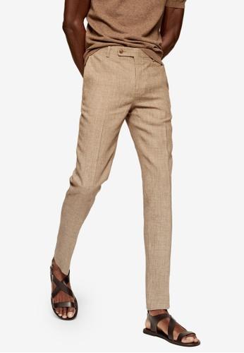 Mango Man beige Slim Fit Linen Suit Trousers 9334AAAF7BA059GS_1