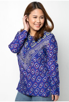 Long Sleeve Printed Plus Size Blouse