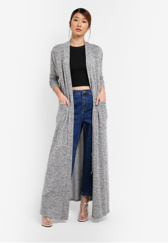 Something Borrowed grey Drawstring Longline Cardigan 25601AA2CA18AEGS_1