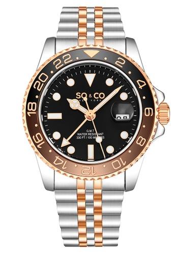 SO&CO silver So & Co New York Men's Stainless Steel Bracelet Watch 19C20ACD5255C6GS_1