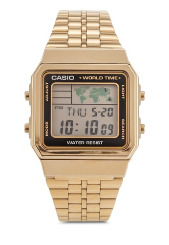 Casio gold Gold-Tone World Time Stainless Steel Watch CA843AC83IXSMY_1