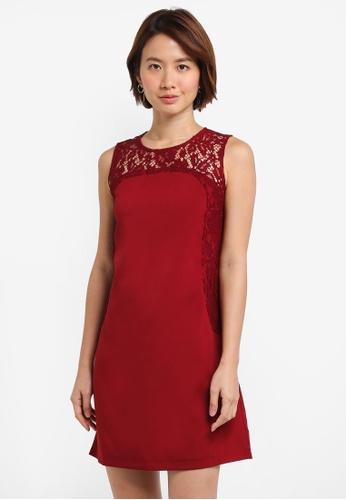 ZALORA red Lace Tunic Dress CD44DAA54C22C4GS_1