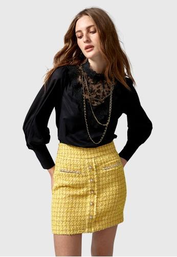 iROO yellow Tweed Minit Skirt CAF88AA97A2C30GS_1