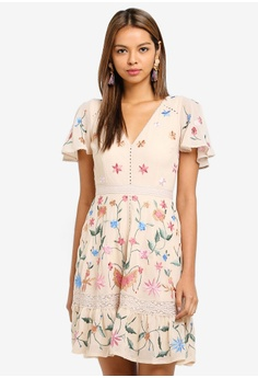 4e8f5e73d6e8 Miss Selfridge multi and beige Nude Embroidered Mini Skate Dress  0806CAA2066FE6GS 1
