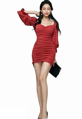 Crystal Korea Fashion red South Korea-made new red ruffled party dress 2B56EAAA4F0BAEGS_1