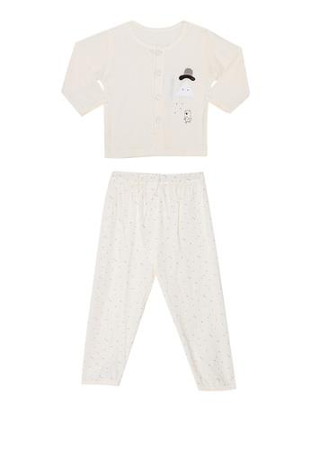 MICK + MARTY yellow Bear Print Front Buttons Pyjama Set 76D03KABDC7271GS_1