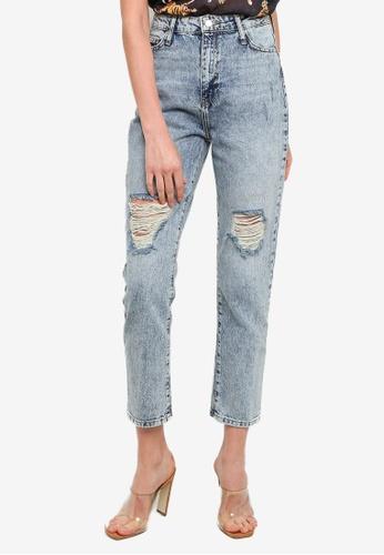 Trendyol blue Ripped Blue High Waist Mom Jeans EB70BAA7FF483AGS_1