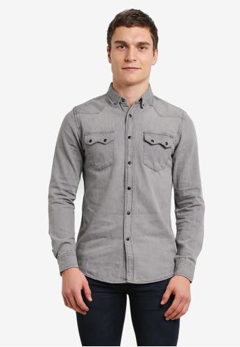Electro Denim Lab grey Denim Shirt EL966AA0SF84MY_1