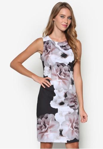 esprit hk outlet單色花卉無袖連身裙, 服飾, 洋裝