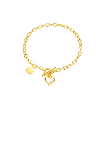 Glamorousky silver Simple Temperament Plated Gold Heart-shaped 316L Stainless Steel Bracelet 2E65CAC38A533DGS_1