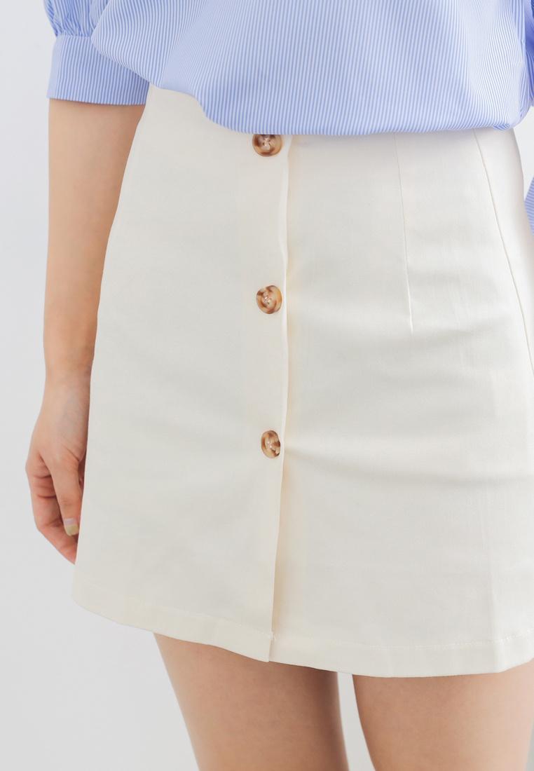 Beige Shopsfashion Button Skirt Up line A qfTZnwXf