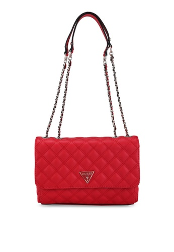Guess red Cessily Convertible Crossbody Flap Bag 66BE9ACC974AB9GS_1