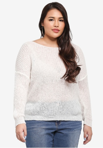 MISSGUIDED white Plus Size Fluffy Yarn Twist Back Jumper 4225CAA43290E6GS_1
