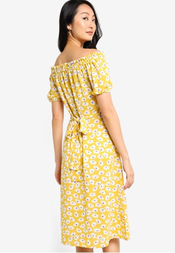ZALORA BASICS yellow and multi Off Shoulder Dress with Self Tie 82CCEAAF546D66GS_1