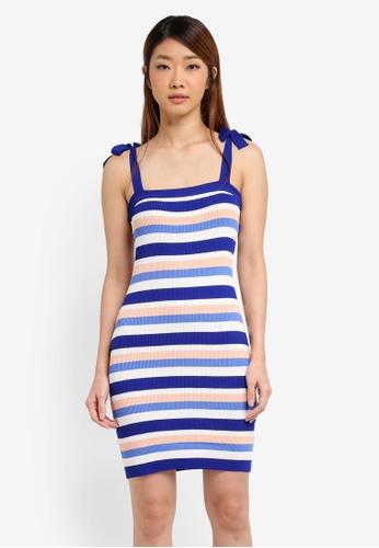 ZALORA blue Striped Rib Dress With Strap Tie 8E341AA4B63AEDGS_1