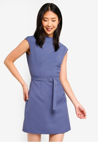 ZALORA BASICS grey Basic High Neck Belted Dress 4D59EAA1F5E07FGS_1