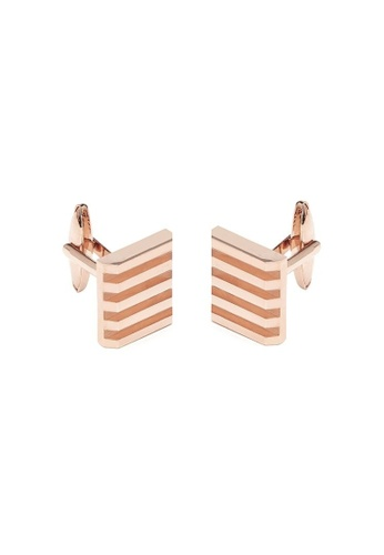 Buckle gold Sold Stripe Square Rose Gold Cufflinks 2455BACB201177GS_1