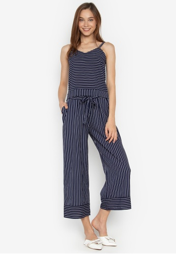 78a7d048541f9d Shop Pois Strappy Crop Top And Pants Set In Stripes Online on ZALORA ...