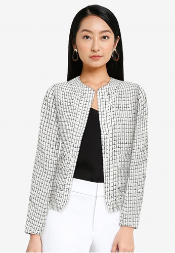 ZALORA WORK white Tweed Jacket With Pearl Buttons 63746AA8800692GS_1