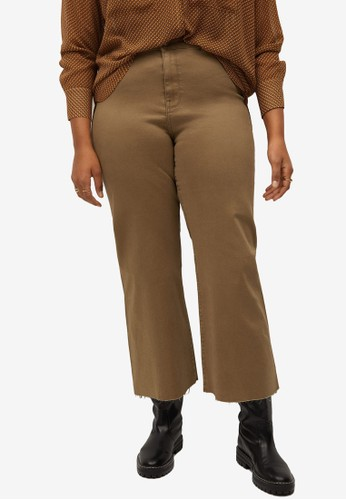 Violeta by MANGO brown Plus Size Culotte Frayed Jeans 72559AAAB6CB9CGS_1