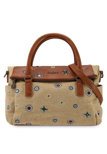 Desigual beige Embroidery Denim Crossbody Bag 2250DACD53AE3BGS_1
