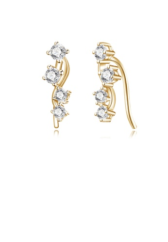 Glamorousky white 925 Sterling Silver Plated Champagne Gold Earrings with Cubic Zircon BD3E4ACD1C4EB4GS_1