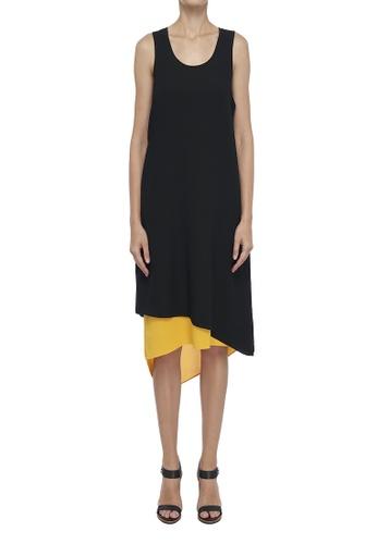 CK CALVIN KLEIN 黑色 縐紗層疊連衣裙 5FBF2AA5593EB4GS_1