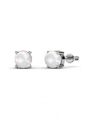 Her Jewellery silver Swarovski® Crystals - Sweet Pearl Earrings (18K White Gold Plated) Her Jewellery HE581AC0RAFOMY_1