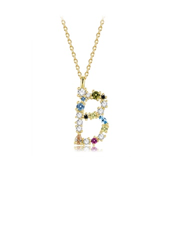 Glamorousky silver 925 Sterling Silver Plated Gold Fashion Simple Color English Alphabet B Pendant with Cubic Zirconia and Necklace 2A780AC97DEE5AGS_1