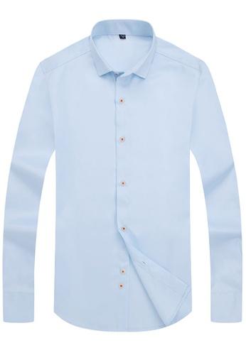 Trendyshop blue Plain Slim Casual Shirt C0D8FAAC3208FEGS_1