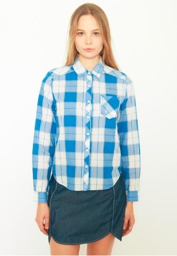 DENIZEN blue DENIZEN Women's Long Sleeve Checkered Casual Shirt - Cotton Blue DZ-59014-0411 2ED45AAEB80DE5GS_1