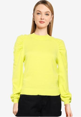 JACQUELINE DE YONG yellow Kourtney Long Sleeves Raglan Pullover Sweatshirt 1F158AA123A921GS_1