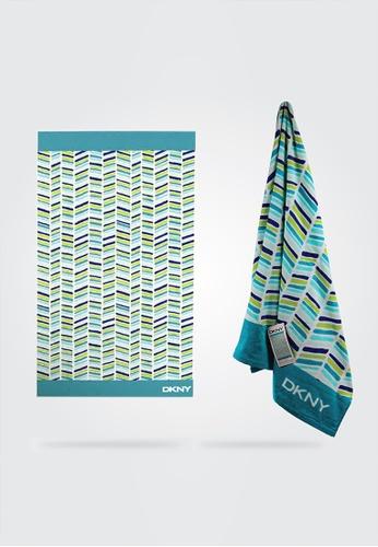 Dkny green and multi DKNY City Chevron Teal Beach Towel. AD3F1HL7074F48GS_1
