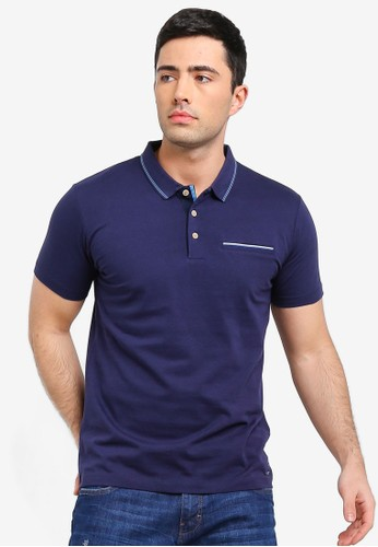 ESPRIT navy Short Sleeve Polo Shirt 7D2C4AA0E4871AGS_1