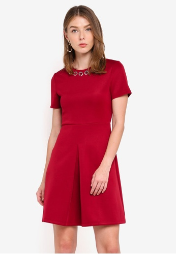 ZALORA red Pleat Detail Dress With Eyelets 15FF4AAE95C8C8GS_1