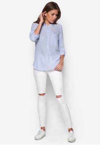 細條紋長袖上zalora是哪裡的牌子衣, 服飾, 上衣